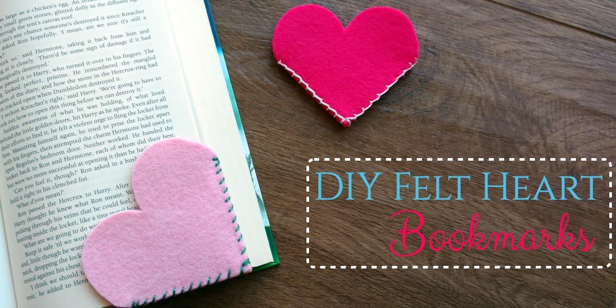 Felt Heart Bookmark, Valentine's Day crafts, felt crafts