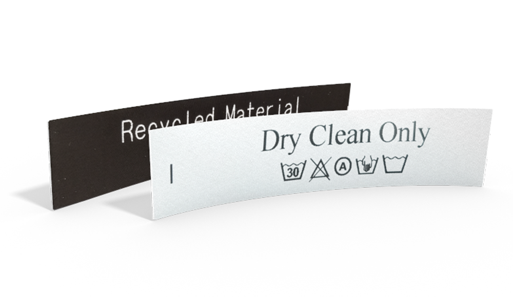 Printed Satin Care Labels with Text & Laundry Symbols - design online