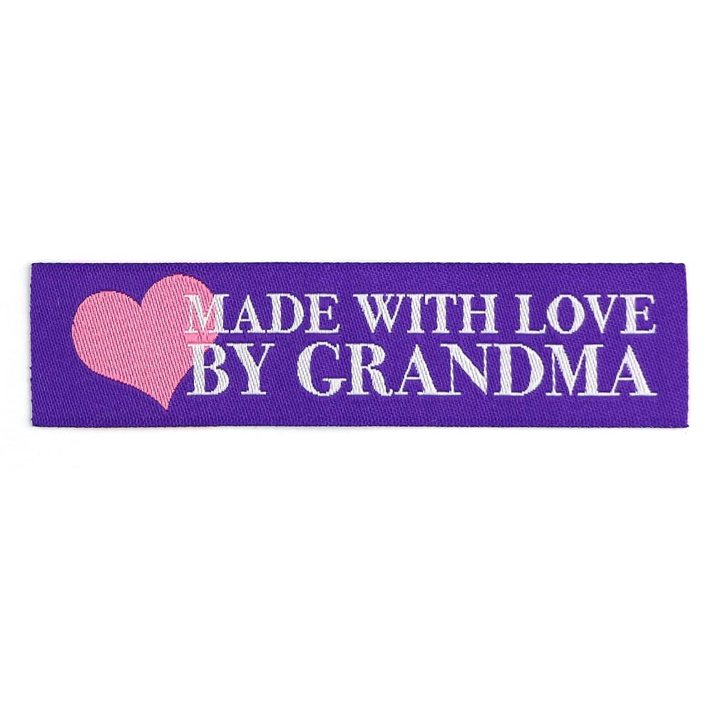 Woven Labels - Made with Love by Grandma - Purple