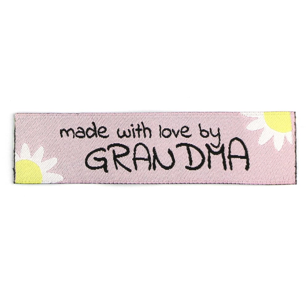 Woven Labels - Made with Love by Grandma - Pink